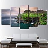 HOMEDCR Mur Affiche Murale Art Module Module Impression Décoration De La Maison 5 Pièces Bord De Mer Île Toile Salon Image Peinture...