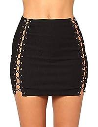 Minifaldas de cintura alta para mujer Falda rasgada para las mujeres Sexy  Denim A Line Mini 8a0dd6160623