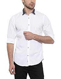SHOWOFF Mens White Solid Casual Shirt