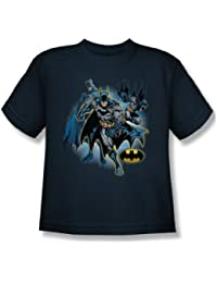 Justice League - Batman Collage Youth T-Shirt In Navy