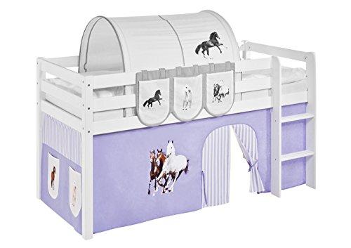 Vorhang Pferde Lila Beige - für Hochbett, Spielbett und Etagenbett
