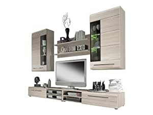 Furnline Skin Roughly Sawn Tv Stand Wall Unit Living Room