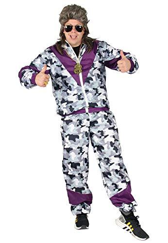 Foxxeo 80er Jahre Kostüm für Erwachsene Trainings-Anzug Assi Camouflage lila S - XXXL, ()