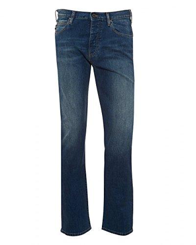 Emporio Armani Mens J21 Jeans, Regular Fit Cross Hatch Blue Denim