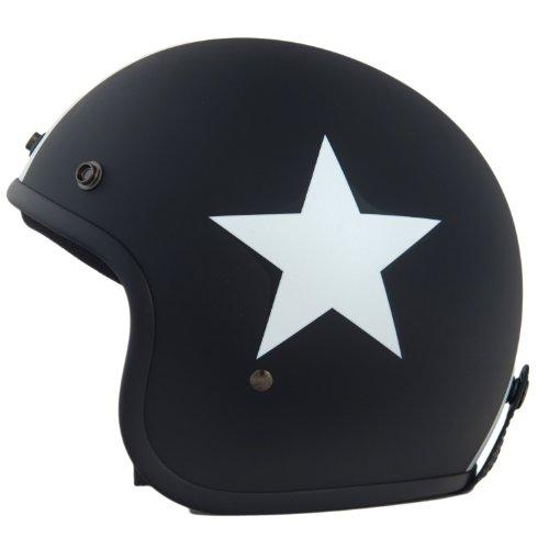 Helm ähnlich wie retro Vespa Helm, Motorradhelm oder Rollerhelm (matt schwarz mit weißem Stern); Größe SM (54-56cm)