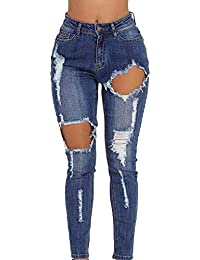 84555b22cfee La vogue Damen Schlank Jeans Loch Jeanshosen Slim Lang Hose Hohe Taille  Pants Blau