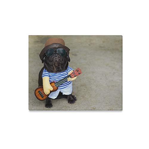 Kostüm Mädchen Musiker - WDDHOME Wandkunst Malerei Indy Musiker Gitarrist Mops Hund Lustige Mops Drucke Auf Leinwand Das Bild Landschaft Bilder Öl Für Zuhause Moderne Dekoration Drucke Dekor Für Wohnzimmer