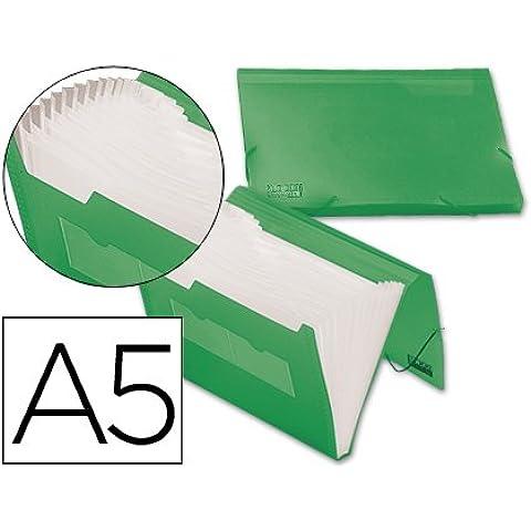 Beautone cartella File espandibile in polipropilene, formato DIN A5, colore: verde