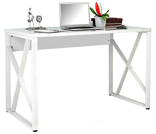 SixBros. Schreibtisch, komfortabler Bürotisch, Computerschreibtisch in Hochglanz weiß, Arbeitstisch für Zuhause & Büro, 120 x 60 cm S-349C/1852