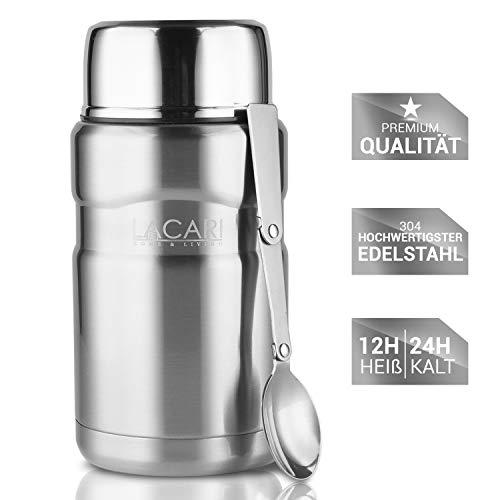 Lacari ® auslaufsicherer Thermobehälter für Essen und Flüssigkeiten aller Art - Innovatives doppelwandiges Vakuum Design für ideale Isolation - Warmhaltebox mit integriertem Löffel - BPA freier Essensbehälter optimal für Kindernahrung - Isolierbehälter mit 700 ml Fassungsvermögen