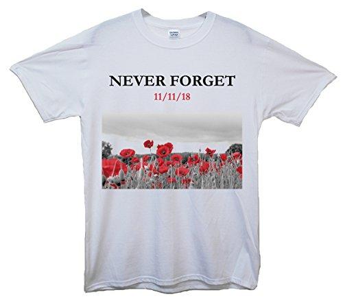 Never Forget Royal British Legion pietra Day-Maglietta, motivo: papavero bianco small