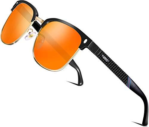 ATTCL Herren Polarisierte Sonnenbrille Al-Mg Ultra Light Metall Rahmen 8-188 Red