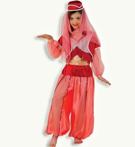 Jeannie 3-tlg mit Kopfbedeckung Harem Dame 1001 Nacht Mädchen Kinder Kostüm (Kostüm Jeannie Zubehör)
