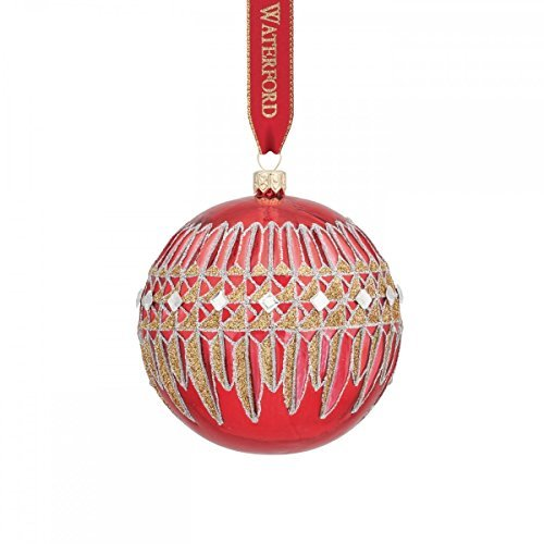 Waterford Lismore Diamond Red Ball Ornament by Waterford -