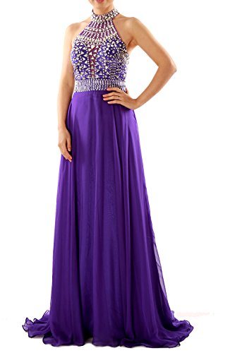 MACloth Women Halter High Neck Sleeveless Long Prom Party Dress Evening Gown Olivgrün