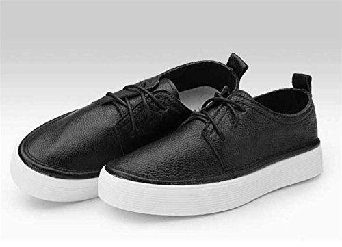 LDMB Frauen runde Zehe wasserdichte Plattform in hohen Schuhe die erste Schicht aus Leder einzigen Schuhe Black