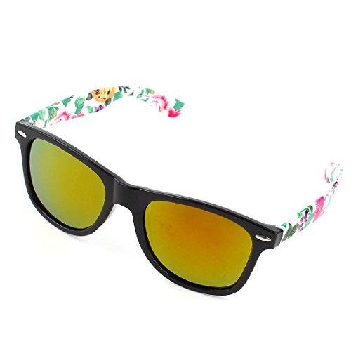 DealMux Lady Rose Drucke Weiße Arme Teardrop-Form-Rahmen-Brille Sonnenbrille