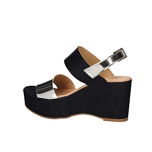 GRACE SHOES Maratea 91 F3 Sandales Compensées Femmes Bleu