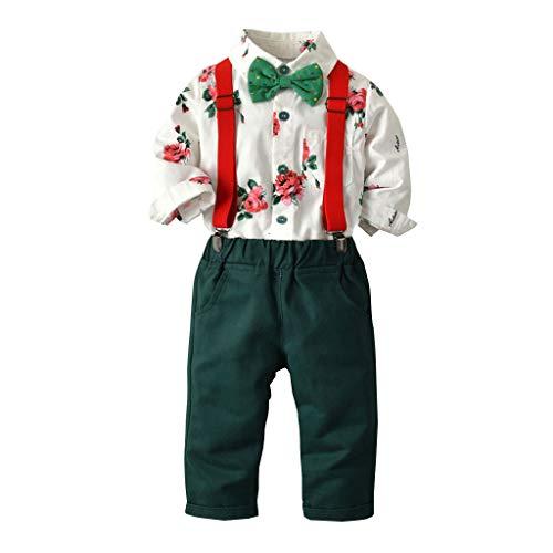 Jaysis Gentleman Krawatte T-Shirt Tops Suspender Pants Outfits Blumen Taufe Kleidung Outfit Set Jungen Hochzeit Smoking Set Bequem stilvoll Babyausstattung (Deluxe Rotkäppchen Kostüm Kleinkind)