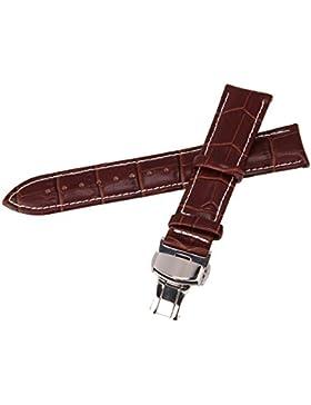 Beauty7 20mm Dunkelbraun Echtleder Uhrarmband Uhrband mit Weißer Naht silberen Schließe Schnalle Faltschließe