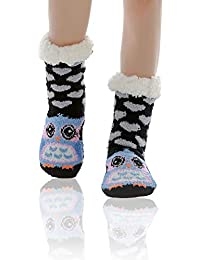 WOTENCE Mujer gruesos cachemira lana calcetines de piso, casa abrigados calcetines, antideslizantes cómodos cálidos