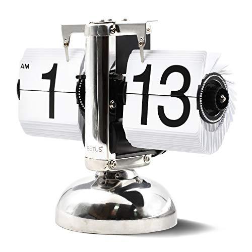 Betus [Estilo Retro Reloj Giratorio de Escritorio con Repisa: Pantalla Mecánica-Digital Clásica Funciona...