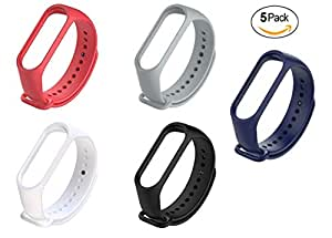 Rapidotzz Pack of 5 Soft Silicone Straps/Belts/Bands Compatible for Mi3 Xiaomi MI Band 3 Band 4