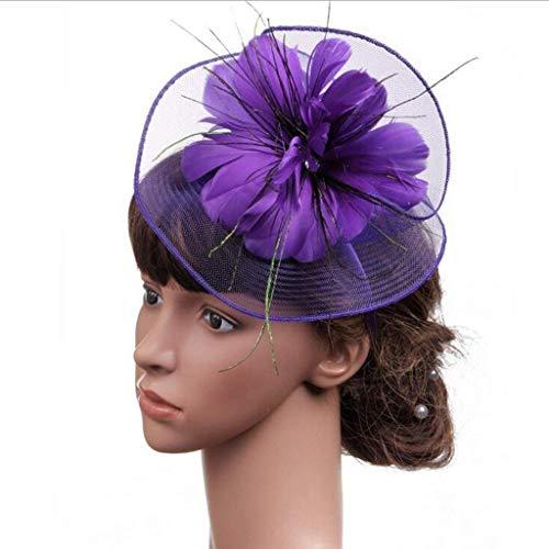 (Flowing Water Fascinator Headband Hochzeits-Kopfstück Kopfbedeckung Feder Haarclip Cocktail-Party Für Frauen Mädchen,Purple)
