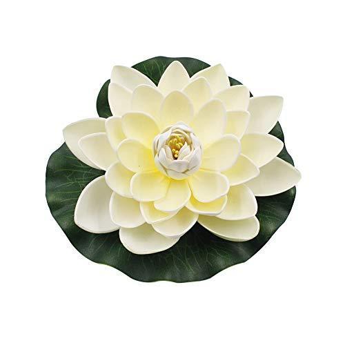 Achidistviq, fiore di loto artificiale, ninfea galleggiante, decorazione per giardino, laghetto, acquario, arancione milk white