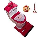 DUBAOBAO Weihnachtsdekoration Santa Claus Dreiteilige Toilette, Sitzbezug Und Teppich- Und Papiertuchbezug + Weihnachtsdeko Besen · Weihnachtskugeln, Geschenke,B