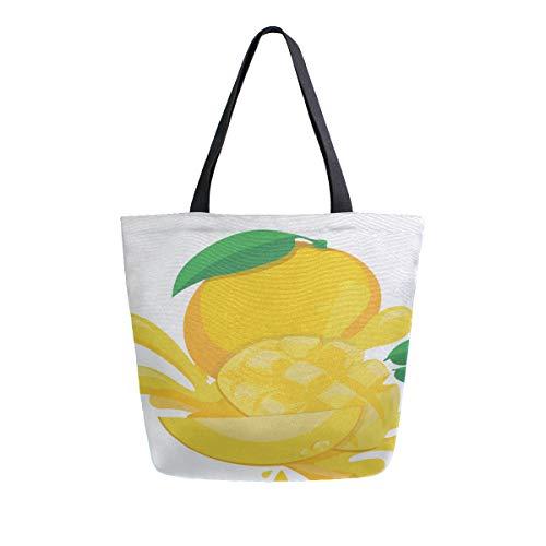 Orange Mango Beliebte Tragbare Große Doppelseitige Casual Leinwand Tragetaschen Handtasche Schulter Wiederverwendbare Einkaufstaschen Reisetasche Für Frauen Männer Lebensmittelgeschäft Reise -