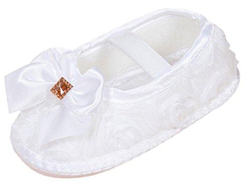 huhe Taufschuhe Babymädchen Schühchen mit Weichen Sohle Größe 11 für Fußlänge 9.3-10cm(0-3 Monate) - Weiß (Hübsche Rosa Prinzessin Kostüm)