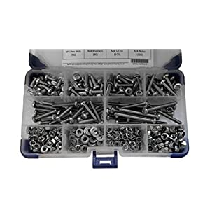 AHC K-10053 540 Piece Pozi Pan Machine Set Screws A2 Stainless Steel M4 4MM with Nuts and Washers