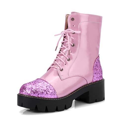 SHANGWU Damen Ankle Winterstiefel Damen Army Combat Flache Griffsohle Pelz gefüttert Warm Fashion Pailletten Schnürschuh Plattformschuhe s Trainer Schuhe Größe 3-8 Größe (Farbe : Rosa, Größe : 42)