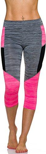 Adiyaro 3/4-Leggings Neon m. Streifen-Kombination in Melange, Grey-Pink L
