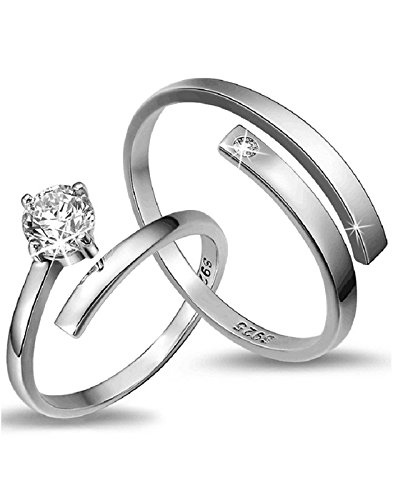 Karatcart Platinum Plated Elegant Austrian Crystal Adjustable Couple Ring For Women & Men