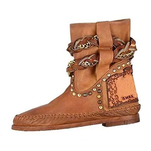 Tohole Damen Biker Boots Stiefeletten Prints Profil Sohle Block Absatz Metallic Prints Schnallen Nieten Lederoptik GefüTtert LäSsige Stiefel Im RöMischen Stil Stiefeletten(Braun,41 EU) -