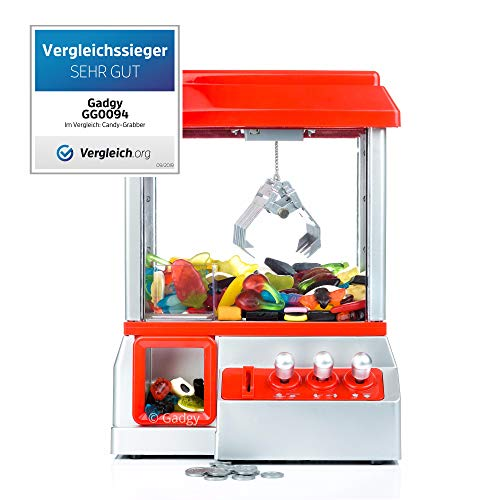Gadgy ® Candy Grabber mit Stummschaltungstaste | Süßigkeiten Automat für Zuhause | Greifmaschine | Mini Jahrmarkt Spielautomat (Jelly Candy Belly Machine Cotton)