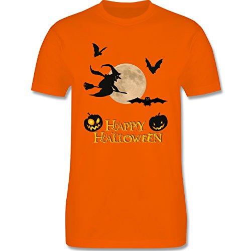 Halloween - Happy Halloween Mond Hexe - Herren Premium T-Shirt Orange