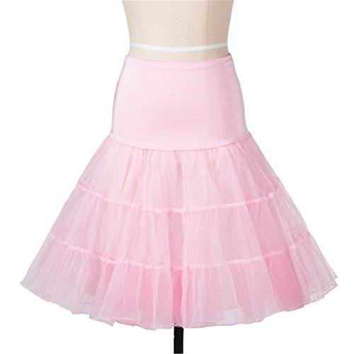 Tailloday Damen 50S Vintage Reifrock Unterrock Petticoat Knielang für Kleid Ballkleid Abendkleid Brautkleid,Unterrock Underskirt Rosa