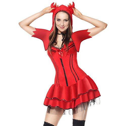 Fxwj damen weihnachtsfrau kostüm kleid frauen fieber hooded die kleine hexe mädchen bühne rolle spielen uniformen (Und Ding Frauen Für 2 Halloween Kostüme Ding 1)
