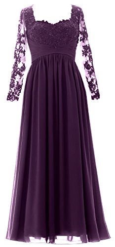 MACloth Vintage Long Sleeves Mother of Bride Dress Maxi Evening Formal Gown Eggplant