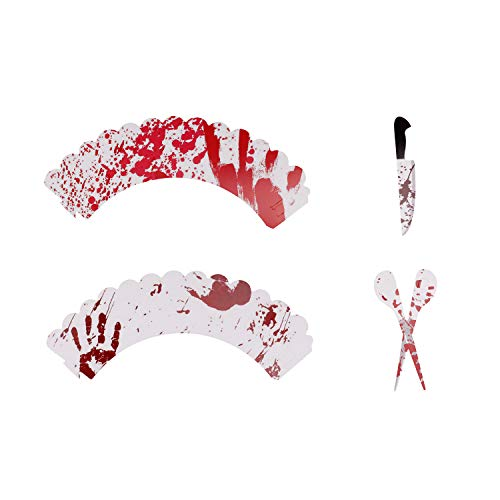 (24Set Halloween Cupcake Picks und Blutunterlaufene Muster Wrappers Ringe für Halloween Supplies Party Kuchen Dekorationen)
