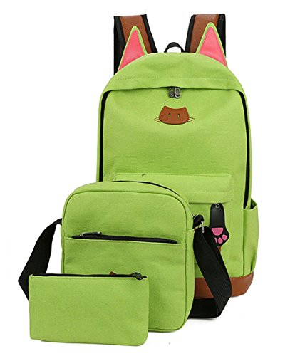 Moolecole Super Cute Cat Ears School Backpack Bag with Shoulder Bag & Pencil Case Pounch,3PCS Set Green