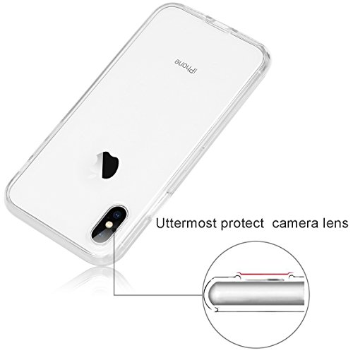 Custodia iPhone X,iPhone X Case,Casetego Slim Crystal Transparent Soft TPU 360 Degree Full Body Protective Shock Absorbing + Scratch Resistant Protective Case Cover for Apple iPhone X/iPhone 10-Clear Clear