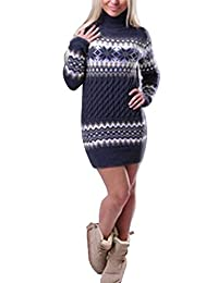 wenyujh Damen Mädchen Pullover Kleid Weihnachten Strickkleid Longsleeve Lang  Shirt mit Stehkragen Winter Warm Sweater 9d9b79abd2
