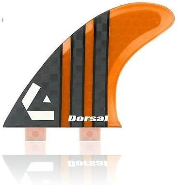 Dorsal Carbon Hexcore Thruster Surfboard Surf Fins (3) Honeycomb FCS Base Orange