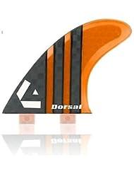 Dorsal Carbon (Hexcore) Thruster Surfboard Surf Fins (3) Honeycomb FCS Base Orange