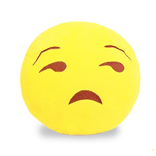 lokep giallo rotondo Emoji Emoticon Cuscino Cuscino Decorativo Cuscino divano letto cuscino peluche peluche, No.4, 33 cm