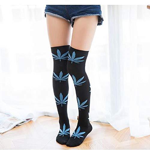 WYLLA Kniestrümpfe, 2 Paar Damenstrümpfe Harajuku Strümpfe Socken Weed Print Spandex Lange Lose Kniestrümpfe (Cotton Spandex Tommy Hilfiger)